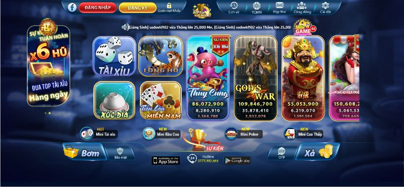 Hệ thống game trong Mely Win
