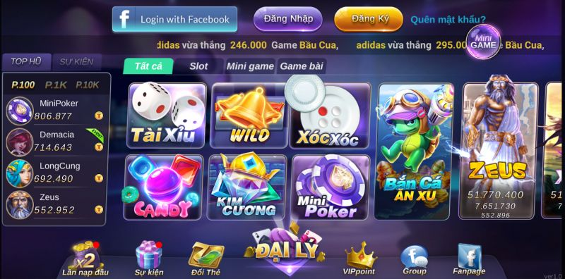Hệ thống game trong ToClub