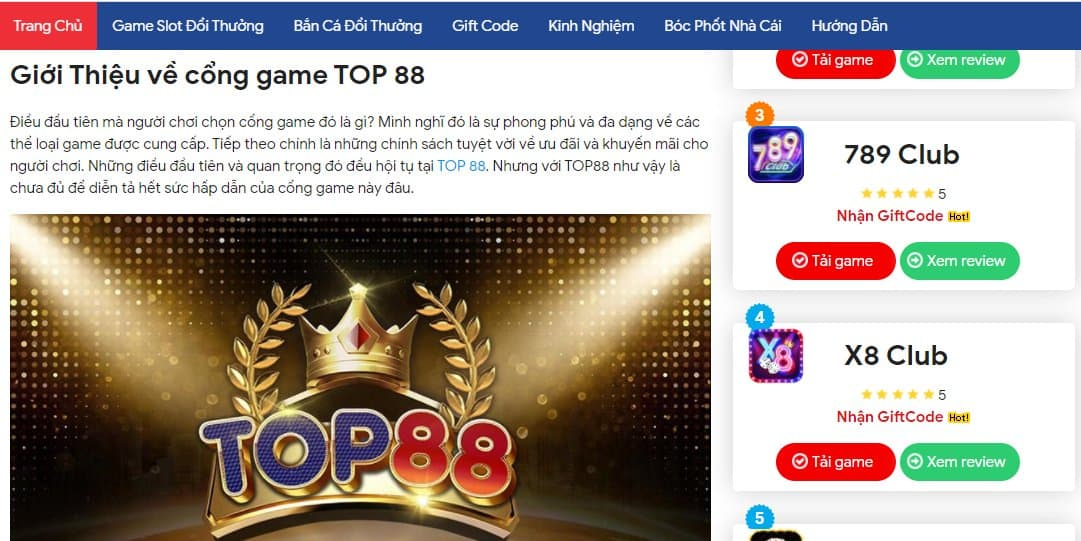 Cổng game Top88